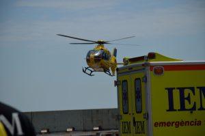 Simulacro emergencia Port Fórum Barcelona intervención helicóptero