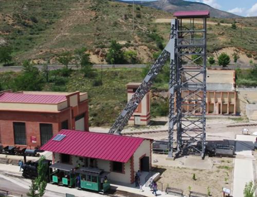 Vía del tren minero de Utrillas a vista de dron