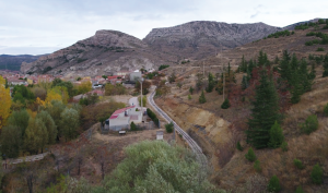 Vista aérea zona rehabilitada de la vía del tren minero de Utrillas